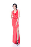 BCBGMaxazria - Rent: BCBG Lena Draped Coral Maxi-The Dresscodes - 1