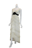 Rent: BCBGMaxazria White V-Neck Ruffles Long Dress
