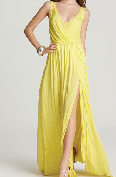 Sale: BCBGMaxazria - Yellow Koko Lace Trim Blouson Gown