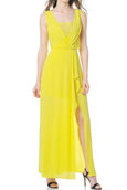 Rent: BCBGMaxazria - Yellow Koko Lace Trim Blouson Gown