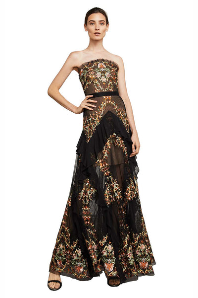 Rent: BCBGMaxazria Black Strapless Embroidered Gown