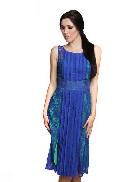BCBGMaxazria - Buy: Blue and Green Lace Dress-The Dresscodes - 1
