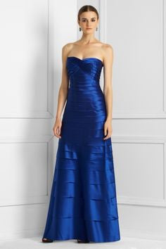 Rent: BCBGMaxazria Satin Layered Royal Blue Dress