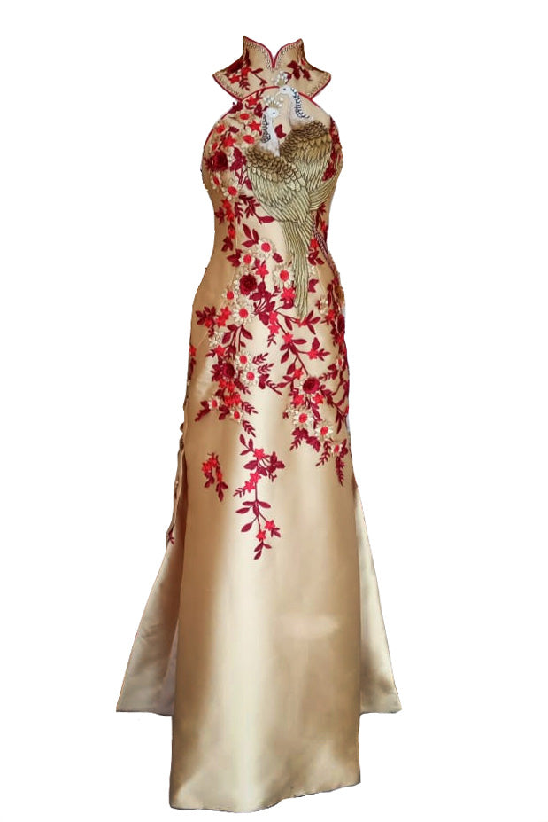 Rent: Billy Tjong Gold Cheongsam Embroidery Phoenix Satin Gown