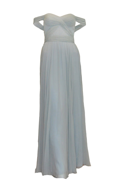 Rent: Biyan Off Shoulder Pleated Chiffon with Slit Gown