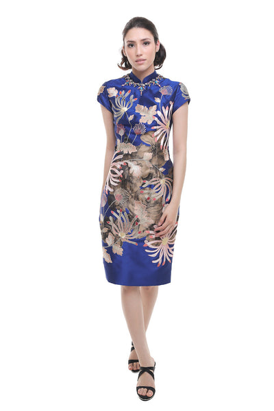 Biyan - Buy: Navy Blue Lotus Mandarin Silk Cheong Sam-The Dresscodes - 1