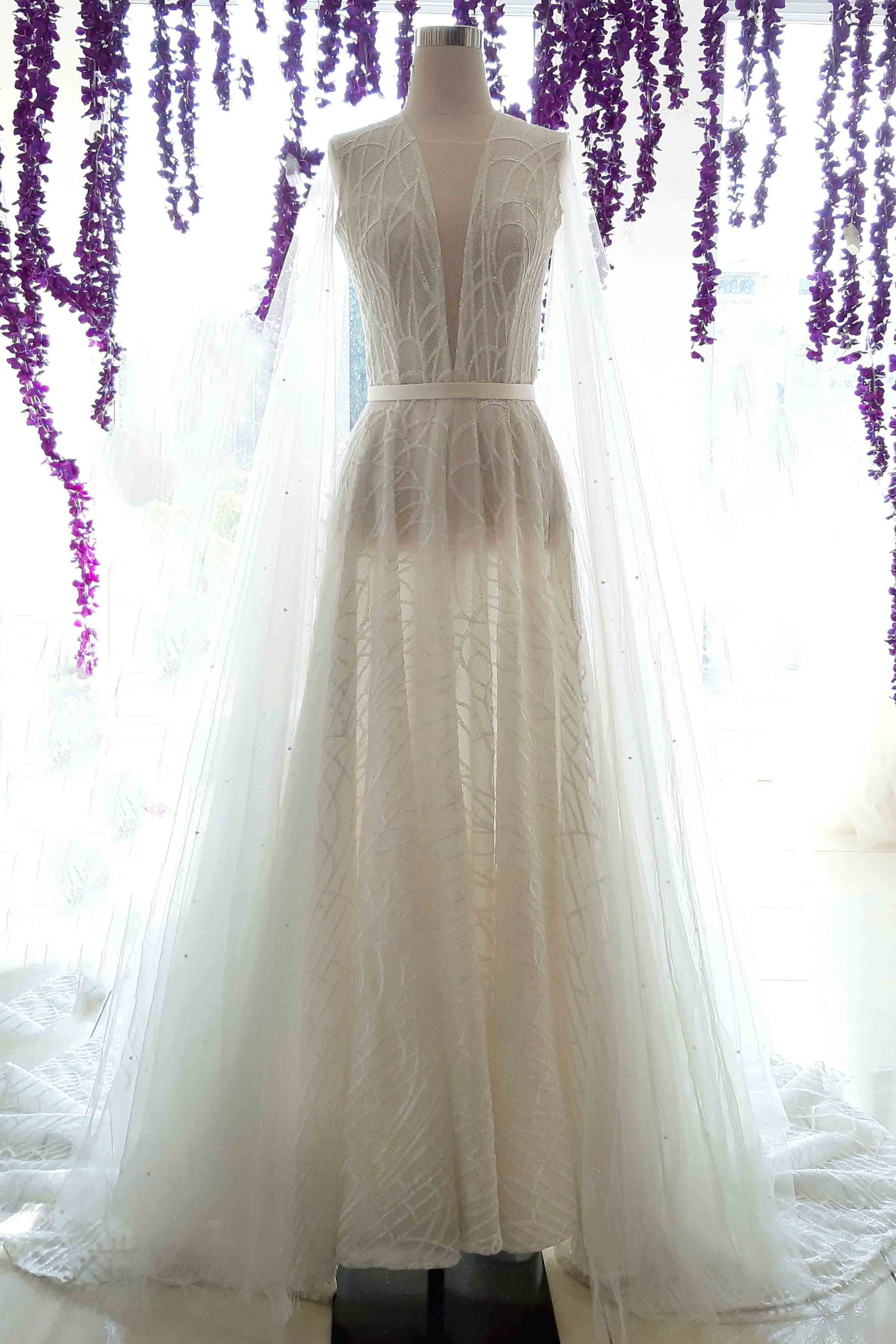 Rent : Bramanta Wijaya - Deep V-Neck Wedding Dress with Cape