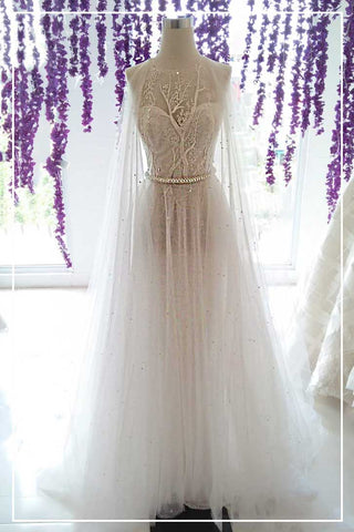 Rent: BRAMANTA WIJAYA Halter Wedding Gown with Cape