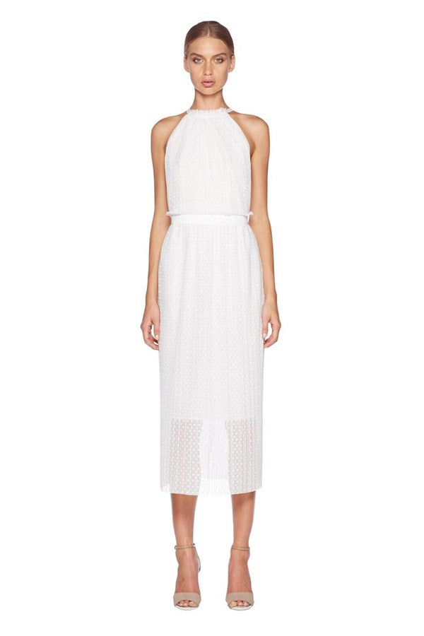 Rent: BEC + BRIDGE White Halter Midi Dress