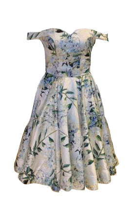 Rent: Bellenoire - Green Floral Off Shoulder Dress