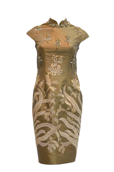 Rent: Biyan Brown Beaded Cheongsam Dress