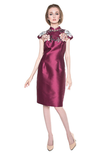Biyan - Buy: Silk Beaded Cheongsam-The Dresscodes - 1