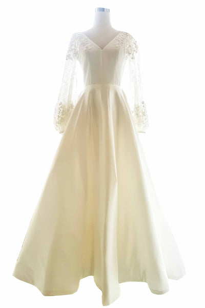 Buy: Bramanta Wijaya - V Neck Longsleeve Embroidery Sateen Wedding Gown
