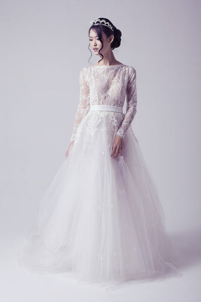 Bramanta Wijaya - Rent: Long Sleeves Lace Ethereal Wedding Gown-The Dresscodes - 1