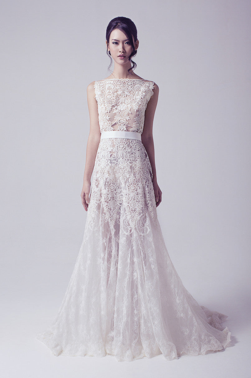 Bramanta Wijaya - Rent: Sleeveless Lace Ethereal Wedding Gown-The Dresscodes - 1