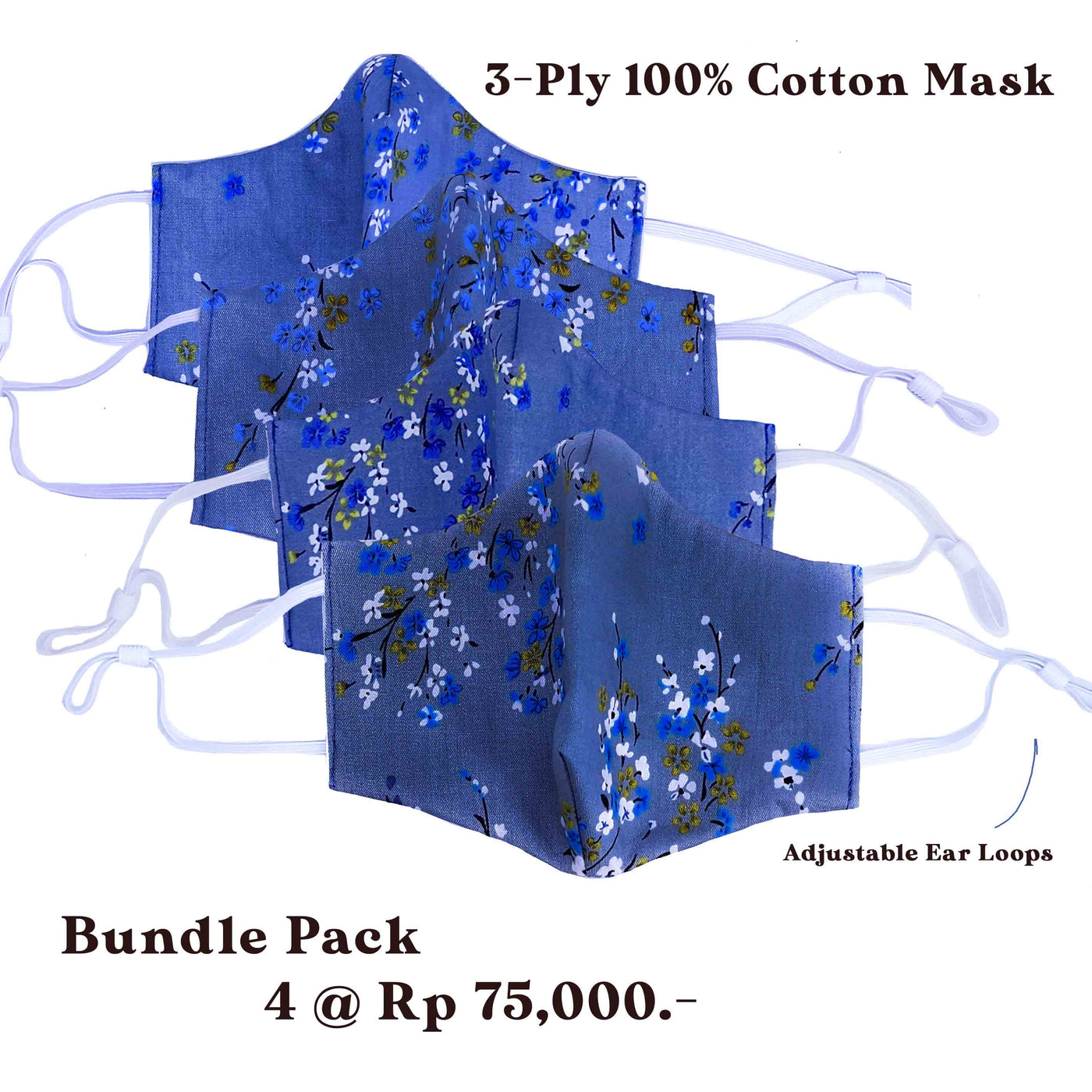 Bundle Pack: 4 pcs of 3-Ply Face Mask with Adjustable Ear Loops (100% Cotton)
