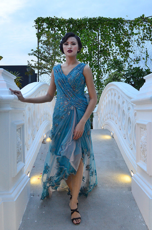 Buy: By Miel Tosca Embellished Long Dress with Slit