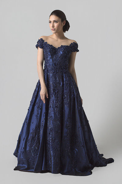 Cynthia Tan - Buy: Navy Blue Off Shoulder Gown-The Dresscodes - 1