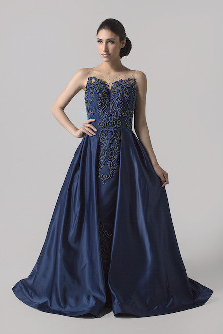 Cynthia Tan - Buy: Navy Blue Sweetheart Ball Gown-The Dresscodes - 1