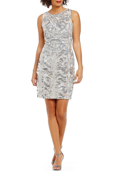 Buy: Calvin Klein Silver Sequin Cocktail Dress