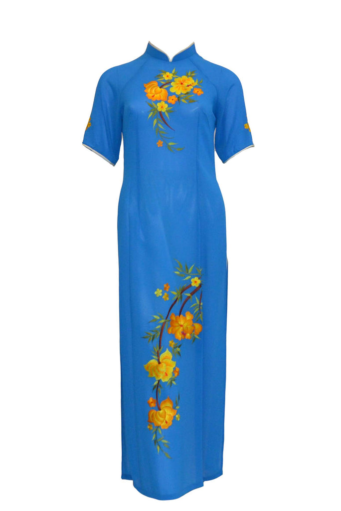 Rent: Private Label - Blue Short Sleeves Cheongsam Dress