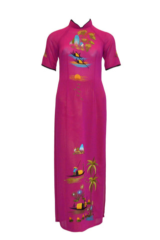 Sale: Private Label - Fuschia Short Sleeves Cheongsam Long Dress