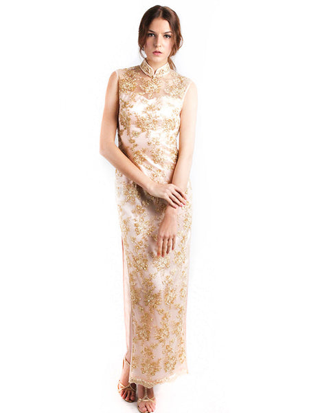 Chinoiserie - Buy: Backless Golden Cheongsam-The Dresscodes - 1