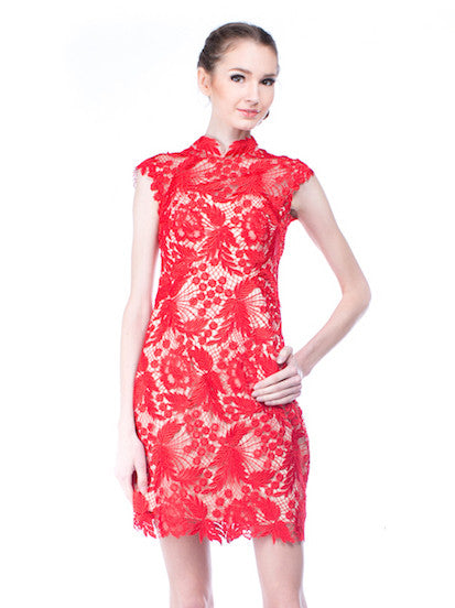 Chinoiserie - Rent: Chinoiserie Red Lace Cheongsam-The Dresscodes - 1