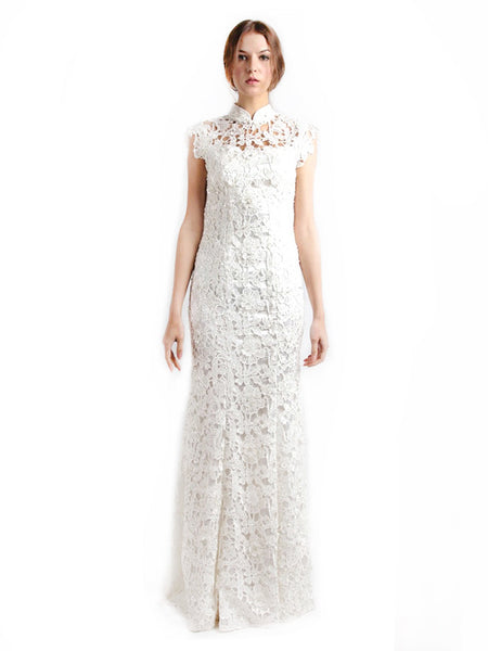Chinoiserie - Rent: Chinoiserie White Backless Cheongsam-The Dresscodes - 1