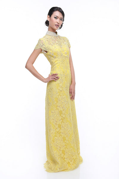 Chinoiserie - Rent: Chinoiserie Yellow Beaded Lace CheongSam-The Dresscodes - 1