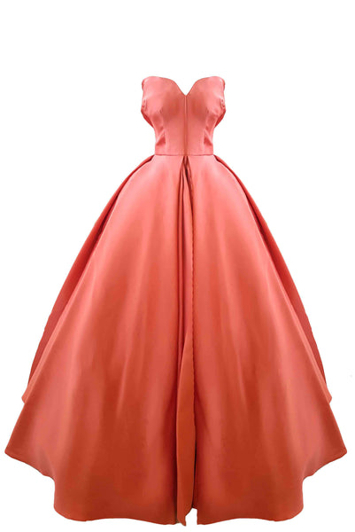 Rent: Cinobi - Coral Sweetheart Ball Gown with Pockets