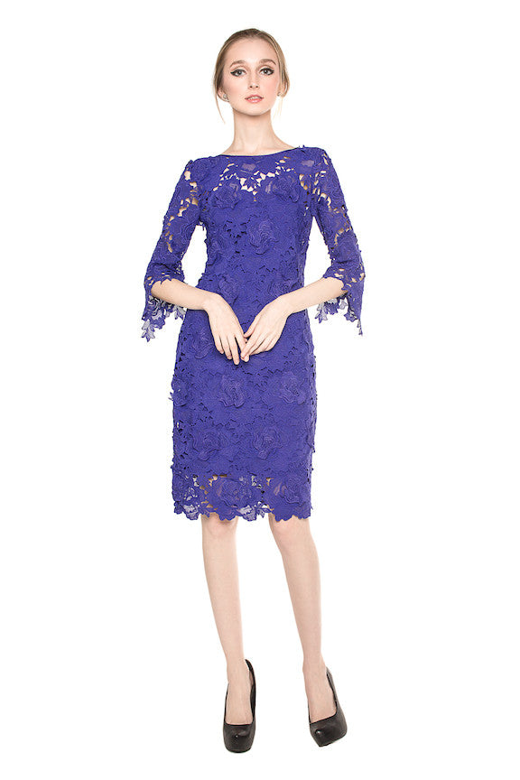 Rent Coast London Sleeved Floral Lace Dress