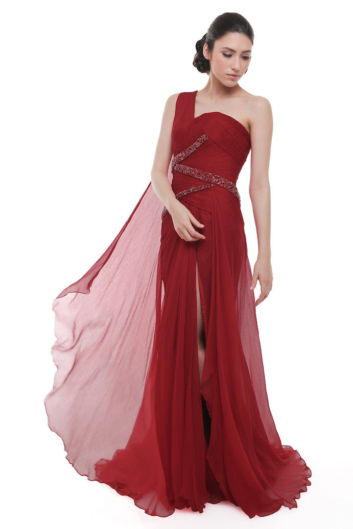 Didi Budiardjo - Rent: Didi Budiardjo Red One Shoulder Pleated Chiffon Gown-The Dresscodes - 1