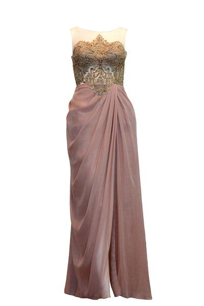 Rent: Seraglio Couture Pink Sleeveless Embellishment Chiffon Dress