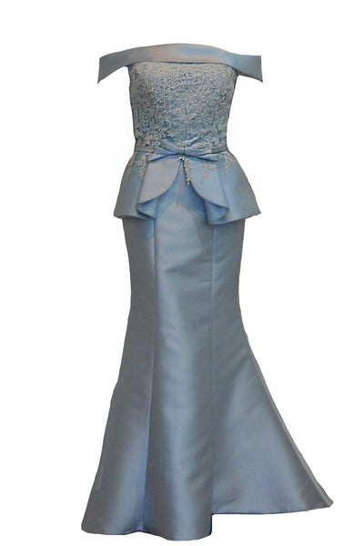 Rent: Julie Boutique - Baby Blue Off-The-Shoulder Mermaid Gown with Peplum