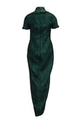Rent: Jeffry Sui Couture - Green Short Sleeves And Slit Cheongsam Gown