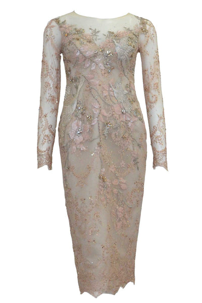 Rent: Melisa Sigit - Rose Gold Long Sleeves Beaded Dress