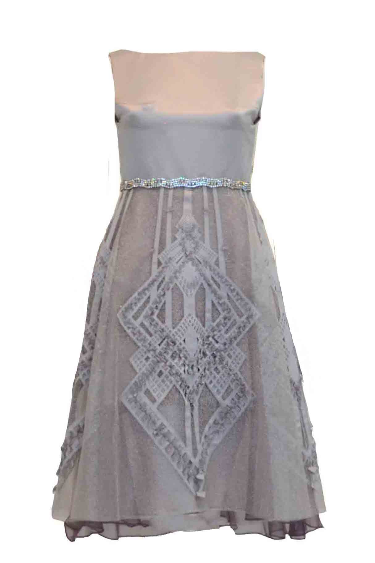 Rent: TEX Saverio - Silver Satin Waist Beaded Dress