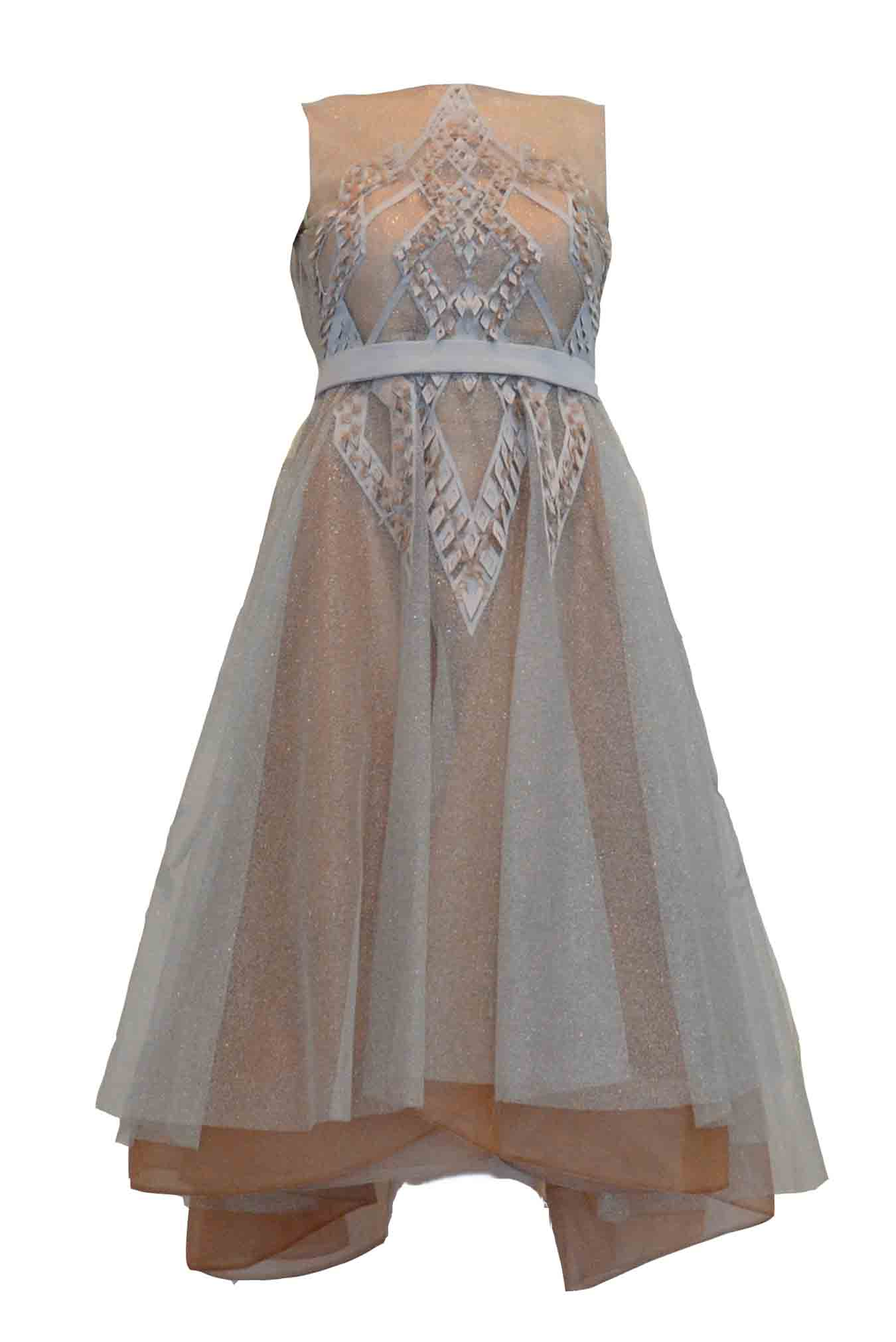 Rent: TEX Saverio - Beige And Silver Tulle Midi Dress
