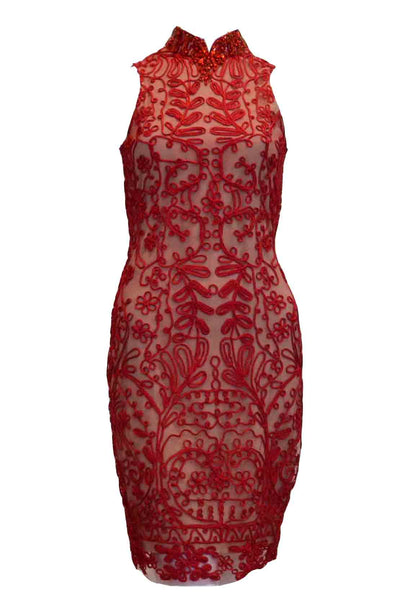 Rent: Sapto Djojokartiko - Red Neck Beaded Cheongsam Dress