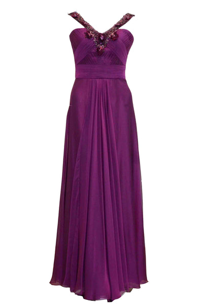 Rent: Hian Tjen - Purple V Strap With Beaded Chiffon Dress
