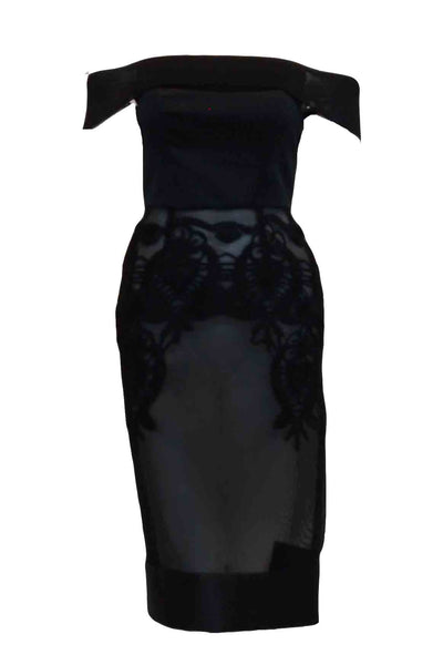 Rent : Private Label - Black Off Shoulder Mesh Dress