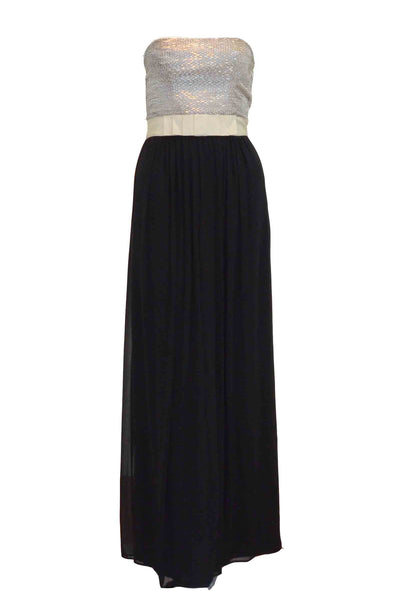 Rent: Ted Baker - Black Silver Strapless Beaded Long Dress