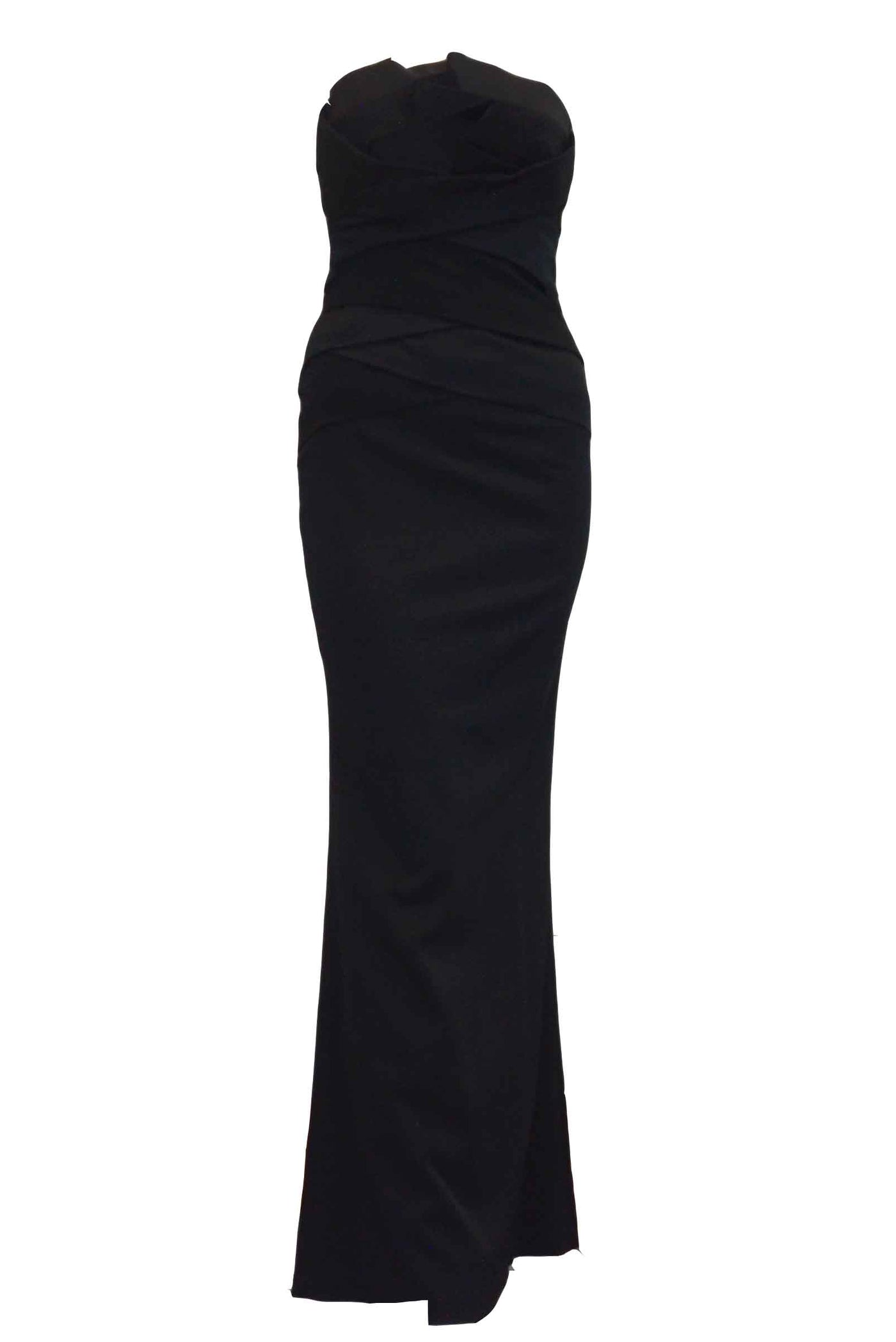 Rent: Coast London - Black Strapless Pleated Long Dress