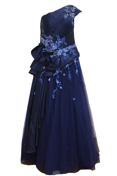 Buy : Private Label - Navy Blue One Shoulder Pleated Gown