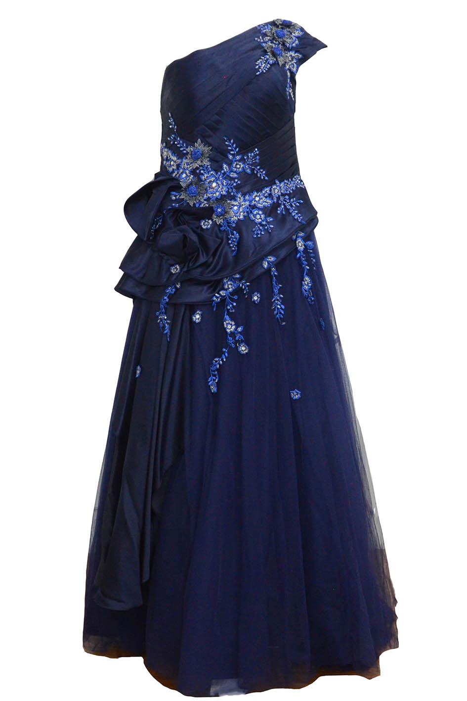 Rent : Private Label - Navy Blue One Shoulder Pleated Gown