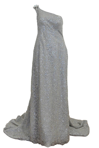 Buy : Gisela Privee - Silver One Shoulder Glitter Gown with Tail