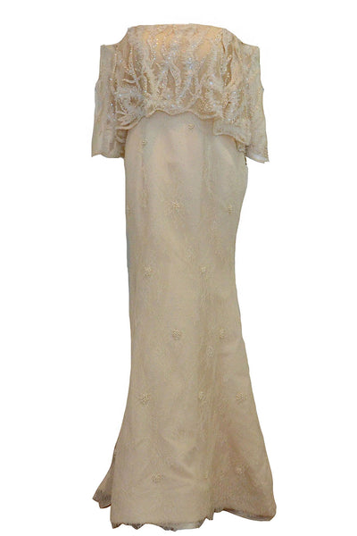 Buy : Gisela Privee - Off Shoulder Lace Mermaid Gown