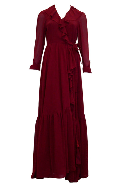 Rent : Cindy Tjan - Maroon Long Sleeves Chiffon Dress
