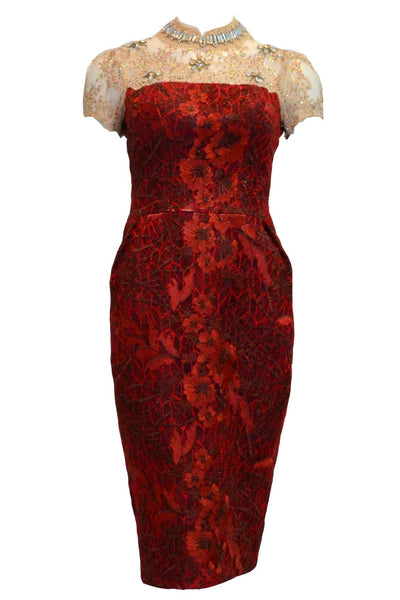 Buy : Eko Tjandra - Red Short Sleeves Jacquard Cheongsam Dress